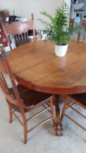 Oak dining table & pressback chairs & china cabinet