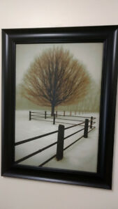 Print of Trees&Fence by David Winston-'Solitude'-Frame