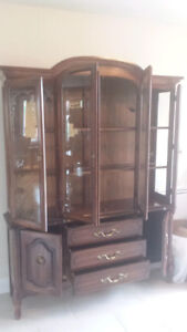 french provincial style china cabinet / buffet hutch