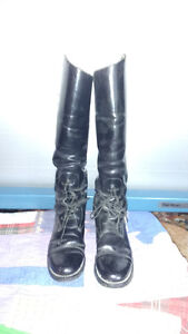 EQUESTRIAN LEATHER STEEL  TOE TIP TALL  BLACK LACE UP BOOTS