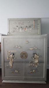 Chinese Grey Liquor Cabinet Bar Mother-of-Pearl Quartz Inlay