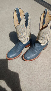 Women's used cowboy boots ostrich leather