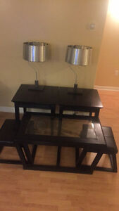 3 coffee tables with two lampshades