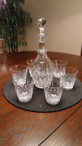 SALE!! Cross and Olive Crystal Decanter Set w/6 glasses