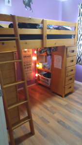 Solid Wood Bunk Bed Desk Combo