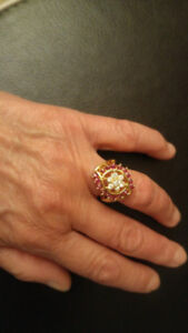 Stunning 14K Yellow Gold Diamond and Red Sapphire Ring