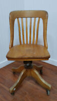 Vintage Chaise Bureau Bois Massif PRESIDENCE Wood Office Chair