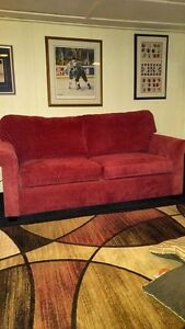 BEAUTIFUL RED CHENILLE COUCH Peterborough Peterborough Area image 1