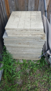Rectangular concrete slabs and stairs patio tiles