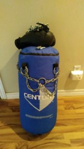 Century punching bag with hook and gloves