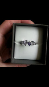 Purple Amethyst hearts Ring Sterling Silver