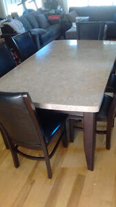 Marble Tile-Topped Dining Table and 6 Chairs...