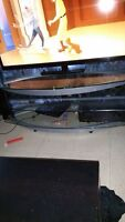 """Huge sturdy Glass TV stand holds up to 70"""""""