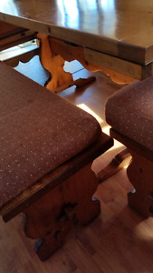 Solid wood dining room table and benches