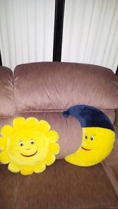 Moon and sun pillows