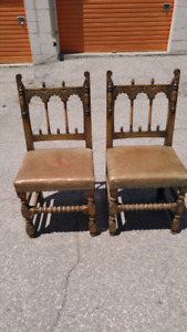 VINTAGE Distressed KITCHEN CHAIRS Wood Leather Spindle yyuupp