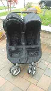 Baby Jogger City Mini Double Stroller, Black, EXCELLENT