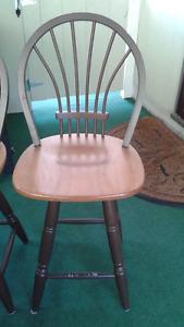 4 swivel bar stools, coffee table, wicker chair