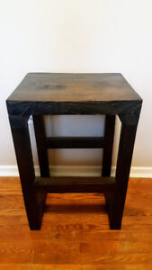 Solid real wood dark stained side table