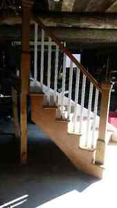 Curved Stairs White Oak w/ Newel Posts Curved Handrail Kingston Kingston Area image 1