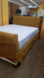 Kingsize sleigh bed frame with mattress