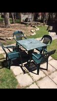 Patio deck table and chairs