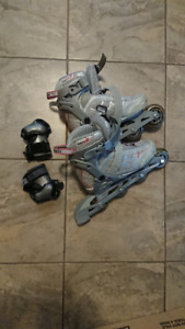 Inline skates size 38 and wrist guards