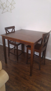 Wood Bar height Table & 4 Chairs