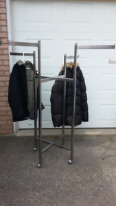 Heavy duty 4 way clothing rack clothes racks with metal wheels