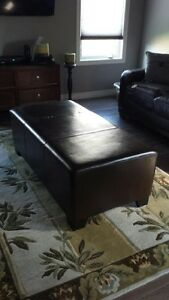 BROWN LEATHER FOOT STOOL, TABLE