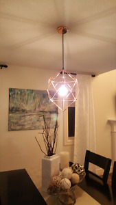 Copper style light with round antique bulb