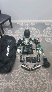 Full lacrosse gear setup with bag
