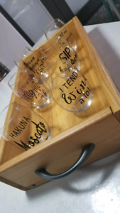 Wooden tray with wine glasses