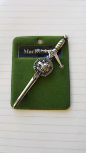 Art Pewter Silver MacKinnon Clan Kilt Pin