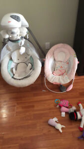 Gently used baby swing and snuggle seat