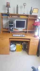 Solid HardwoodDesktop table with computer.Urgent Sell as moving  Regina Regina Area image 2