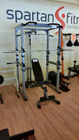 Power Cage w/ Olympic weights, bench & Lat Tower