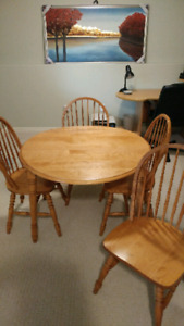 All wood, table, 4 chairs