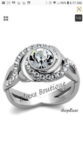 BEAUTIFUL BRAND NEW STAINLESS STEEL ENGAGEMENT/WEDDING RINGS
