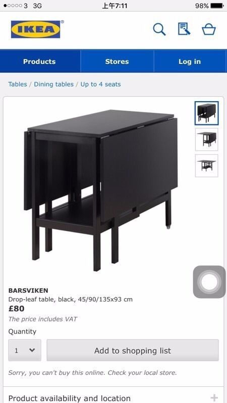 Ikea BARSVIKEN Drop leaf table brown 4590135x93 cm  : 86 from www.gumtree.com size 450 x 800 jpeg 35kB