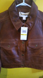 BRAND NEW MICHAEL KORS LEATHER COGNAC JACKET AT $350!!
