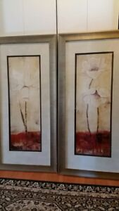 Jane Bellows beautiful floral artwork, 2 pieces-gold color frame
