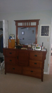 Dresser with mirror and 2 end tables