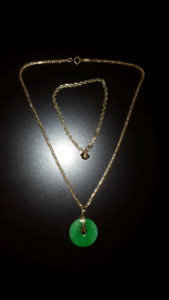 18 inch Real Jade Stone Gold Necklace & 8-inch Gold Bracelet