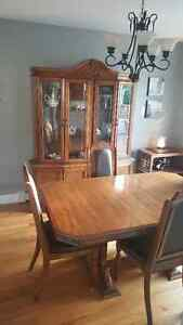 Solid oak China cabinet and table