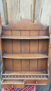ANTIQUE KNICK KNACK SHELF WITH DRAWERS