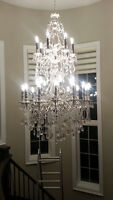 Staircase, Foyer, High ceiling Chandelier installation