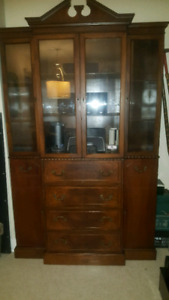 1940's Vintage Deco China Cabinet with Secretary Pullout Desk