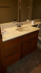 "Free 52"" Vanity with Marble counter top and Marble tub surround"