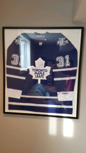 Maple leafs Curtis Joseph autographed jersey in framed case